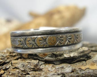 Rustic Sterling Silver and 12K GF Ring U.S. Size 10