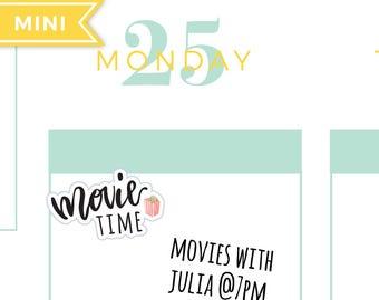 Movie night planner stickers, hand writing stickers, hand lettered stickers, movie date