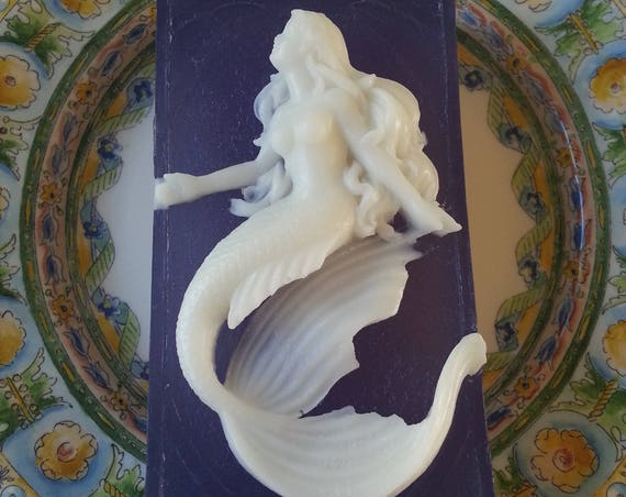 White Cameo Mermaid on Blue Background Soap - Gorgeous Mermaid Soap -Mermaid Gift - Mermaid Present
