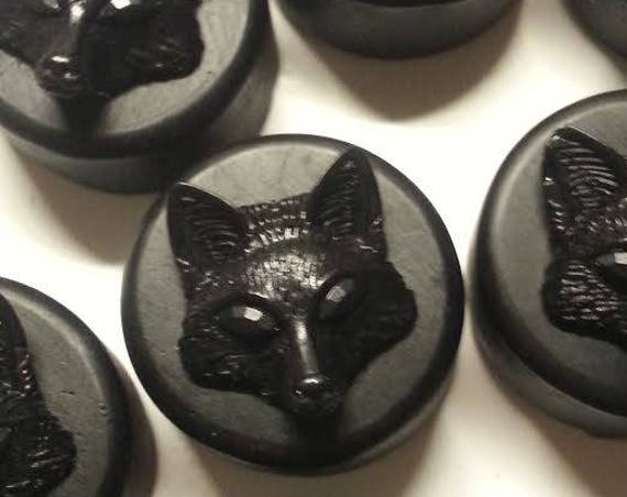 Set of 4 Fox Button Soaps with Activated Charcoal and Essential Oils