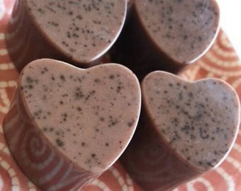 Set of 4 Honey Cocoa Heart Soaps