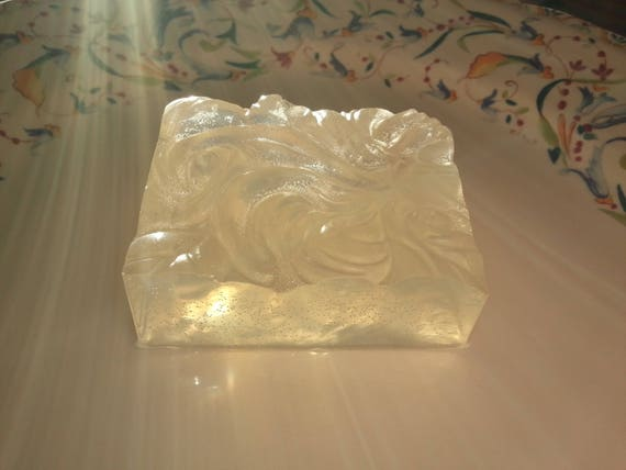 Clear Bar Soap - Peppermint Essential Oil - Waves and Swirls Design