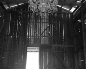 Old Barn, Chandelier, Rustic, Sonoma County, Wall Art, Home Decor, Rustic, Travel Photography, Fine Art Print, Black and White