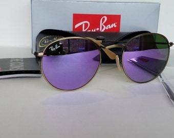 b4df7162a035f3 New Authentic Ray-Ban RB3447 Lilac Round Metal