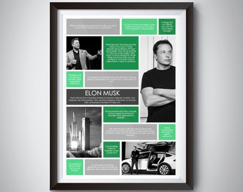 Elon Musk Quote Print; Digital Download; inspirational quote wall art for motivation and success