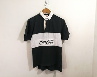 0bebcd8c Vintage 80's Cocacola polo shirt Coca Cola Rugby design shirt spell Out  size 2