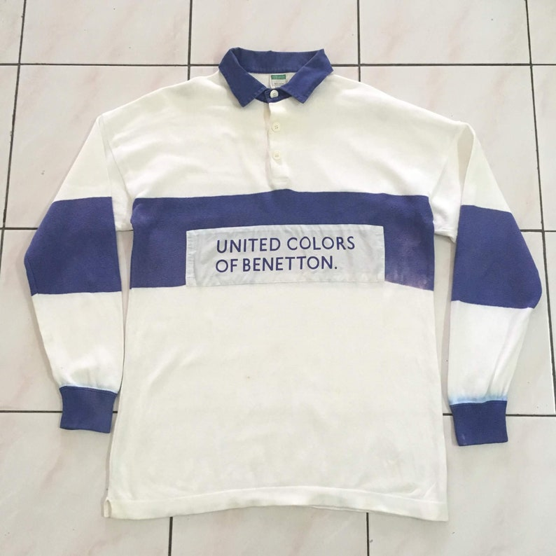 cba18eec5a8 Vintage Rare 1990 s BENETTON Rugby spellout long sleve