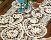 Bruges lace runner crochet doily 26 inches 16 inches