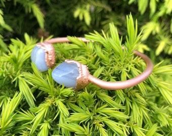 Blue lace agate adjustable copper bracelet