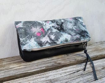5aaabc7b3790 marble leather pouch - black and white abstract cosmetic case - hot pink  patterned make up case - cute gift - bohemian bag - purse organizer