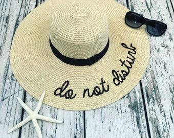 Embroidered Do Not Disturb Straw Beach Hat