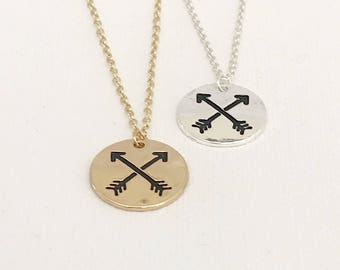 Double Arrow Stamped Disc Necklace
