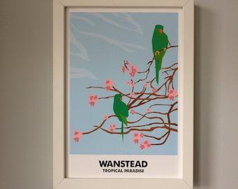 Tropical Paradise Wanstead Parakeets A3 Print