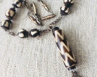 African Batik Pearl Necklace