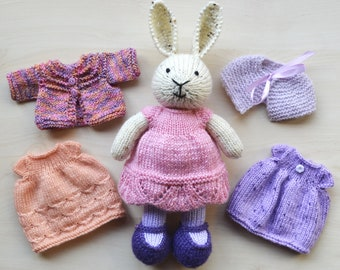 Knitted Bunny in Dress Hand Knit Bunny Girl Set Soft Toy Cute Stuffed Animal Mother's Day Gift Collectible Toy
