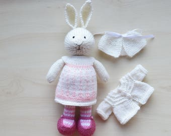 Hand Knit Easter Bunny Cute Knitted Toy Little Easter Bunny Girl Toy Cotton Doll For Girls Rabbit Cute Stuffed Animal Collectible Toy