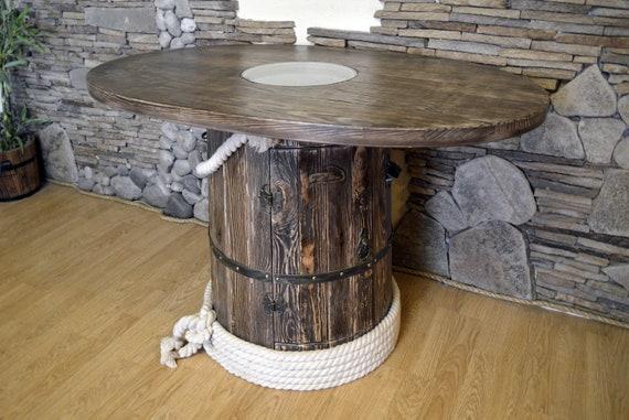 Table Tonneau En Bois Avec Mini Bar Et Eclairage 39 25 Pouces En Verre Dessus Meubles De Bar A La Maison Decor De Ferme