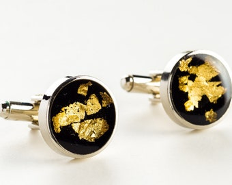 Wedding cufflinks, Black and gold cufflinks, best man cufflinks,  grooms cufflinks, silver 925 cufflinks