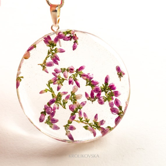 Real flower pendant Necklace with heather 925 Sterling Silver Jewelry with heather Pendant with heather Real flower jewelry