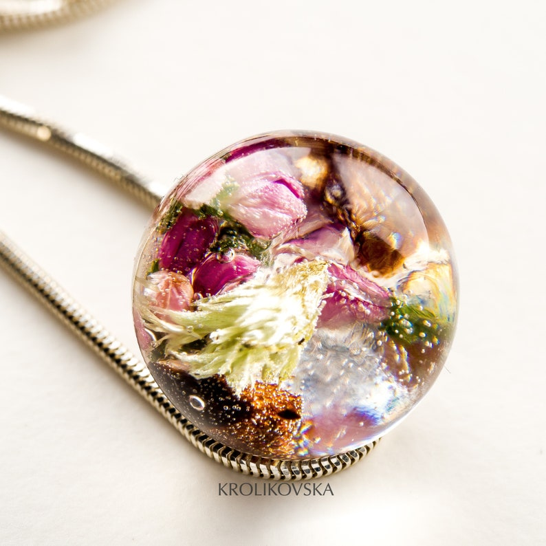 Necklace with heather Real flower pendant Dandelion necklace Real flower necklace 925 Sterling Silver Real flower jewelry