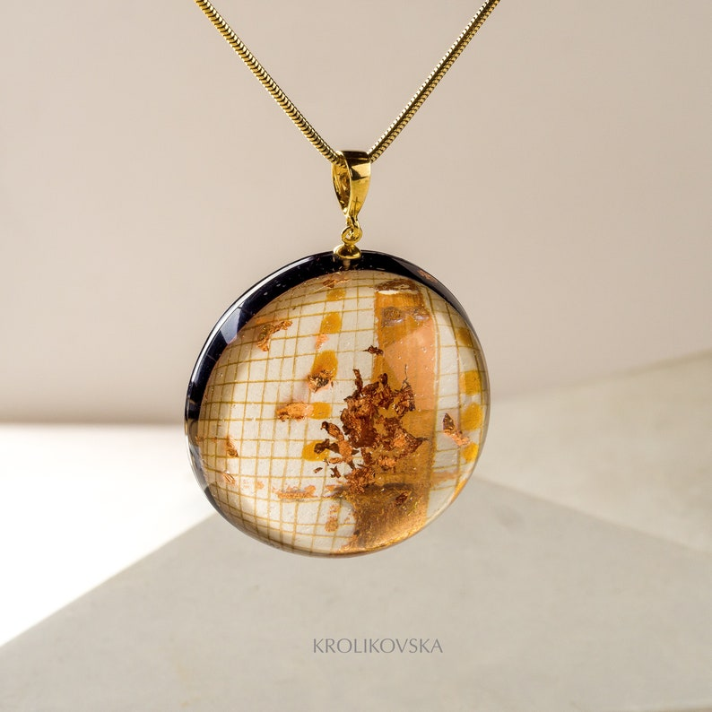 Sun Drawing Necklace Ink Art Image Painting Necklace 925 Sterling Silver hand-painted necklace