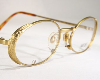 da6f5d8e28f Unworn KENZO  TOLEDE  Ornate Detailed Delicate Satin Gold Color 90 s  Women s French Designer Eyeglass Frames Hand Made in France Size Medium
