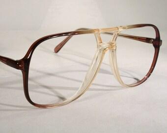 311bc830f07 Men s Vintage GANT  Ambition  Massive Gradient Brown Marine Acetate Eyeglass  Frames Old Stock New Hip Hop Style Twin Dual Bridge Aviator