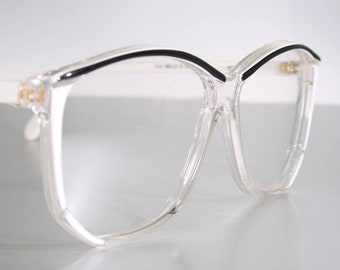 2539a8bd1cc NELLY 80 s Eighties Oversize White   Clear with Black Brow Accents Eyeglass  Glasses Frames Old Stock New Womens Ladies