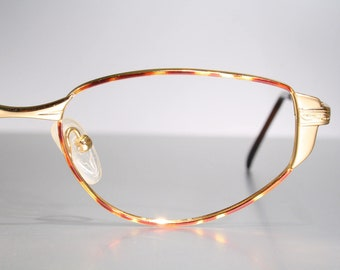 a31b33c29286 Glossy Gold SFEROFLEX Shiny Unworn Late 80 s Eighties Oval Eyeglass Frames  Slight Cat Eyes Decorated Ornate Animal Pattern Spring Hinges