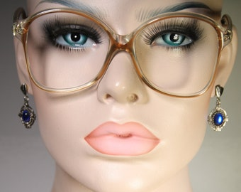 Unworn Small True 1980s GLAMOUR OPTICS USA Honey, Clear and Copper Unworn Plastic Eyeglasses Glasses Optical Frames Spectacles Old Stock New