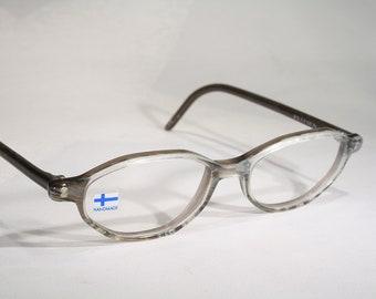 db765a77640 Unworn KV DESIGN Vintage 80s Finnish Design Translucent Smoke Gray  Scandinavian Women s Oval Acrylic Plastic Optical Eyeglass Frames Glasses