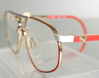 334927bbb66 Kid s Unworn PUMA Cable Temple Ear Loop Vintage Early 90 s Aviator Red  White Gold Eyeglass Frames Spring Hinges Small Size S Children Sports