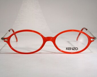 444c7e6e6ca Vintage KENZO  ALEXANDRIE  Translucent Red Plastic Women s 1990 s Round  Oval Made in France Designer Glasses Frames Eyeglasses Medium Large