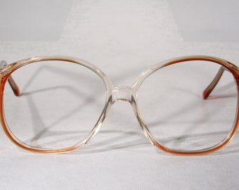 a976c8e02657 EyeAppeal USA True Eighties 1980 s Clear Rosy Pink Hue Seethru Large  Oversize Style Eyeglasses Optical Frames Glasses Spring Hinges Large