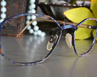 d1c99ac793e7 Colorful FEMINA ROSE 90 s Women s Blue Metal   Multicolor Ladies  Angular  Oval Octagonal Eyeglass Frames Old Stock New With Tags NOS Unworn