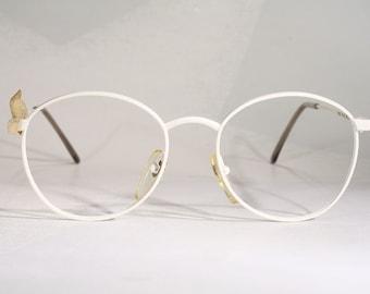 503446a5dcc Teen Size LINO VENEZIANI  TEEN 13-18  True Vintage Eighties 1980 s Italian  White Round Geeky Chic Metal Eyeglass Frames Eyeglasses Glasses