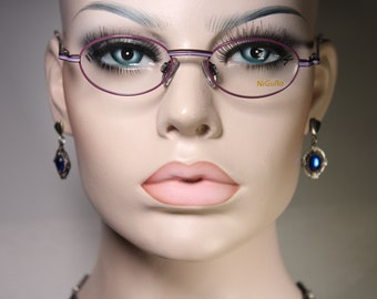 Small NIGURA N9006 Vintage 1990's Eyeglass Frames Purple and Violet Metal Glasses Optical Frame with Small Oval Lenses