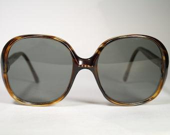Very Oversized True Vintage 1970's Only 'Greece-TH 280CA 05CA240' Marked Dark Tortoise Brown Sunglasses with Medium Dark Gray Lenses