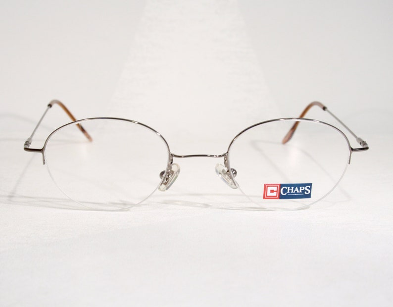 Lightweight Half Rimless CHAPS Dark Chrome Vintage 90's Exotic Triangular Oval Women's Eyeglass Frames Size Large