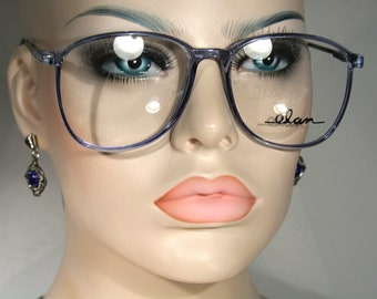Unworn Vintage ELAN 7001 'Blue' Clear Seethru Gorgeous Late 80's Plastic Oversize Large Pale Sapphire Eyeglasses Optical Glasses Frames