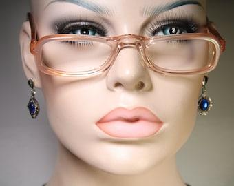 "Vintage 80's SRO (Styl Rite Optical) model ""KILEY SP"" Clear Peach & Pearl Effect Plastic Acetate Old School Reading Glasses Eyeglass Frames"