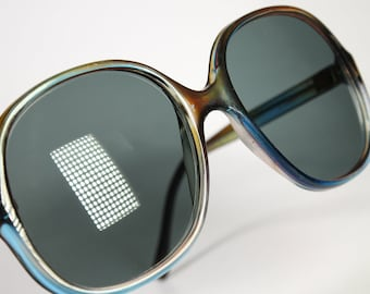 Near Mint Only : 1970's Greek Oversized Brown And Blue Color Combo Sunglasses Dark Gray Real Glass Lenses
