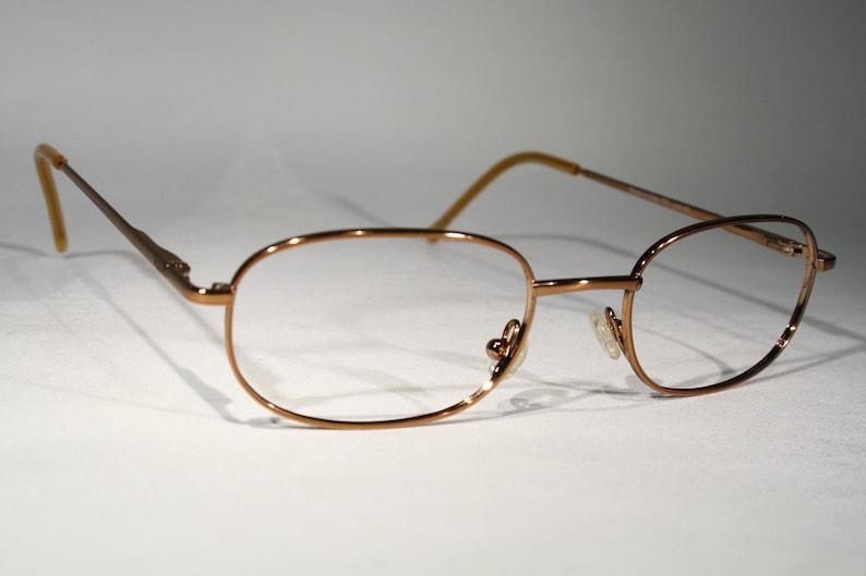 Glossy Oval RB JEANS by ROCCOBAROCCO Unworn Vintage 90s Brass Copper Bronze Color Metal Glasses Eyeglass Frames Eyeglasses Size Medium