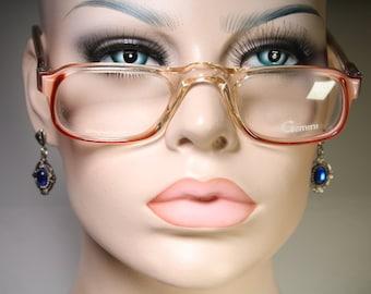 Vintage 80' GEMINI GEM-FLEX 'Delta By Gemini' Plastic Clear Beige Brown Old School Reading Glasses Eyeglass Frames Readers