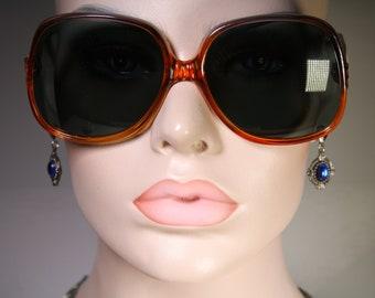 Unworn MASSIVE True Vintage 1970's Oversized Marked 'Greece 04CA240 280CA' Orange and Blue Sunglasses with Extra Large Lenses