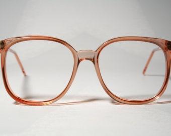 Unworn True 80's ELITE model 'FAIRWAY PINK' Plastic Very Oversized Clear Pink Eyeglasses Glasses Frames in Vintage Eighties Oversize Style