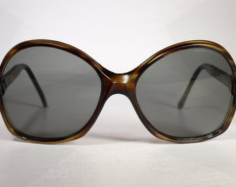 Size Medium True 1970's Semi Clear Cyan-and-Brown Oversized 'Greece 02CA240 380CA' Sunglasses with Well Preserved Neutral Gray Glass Lenses