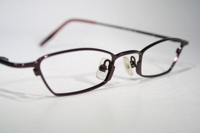 Exotic Unworn OGI Late 90's Angular Austere Glossy Shiny Dark Purple All Metal Slim Small Lens Lightweight Eyeglasses Glasses Frames Eyewear