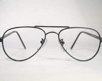 Unworn ELAN 149 Vintage 1980's Crude Minimalist All Black Old School Aviator Glasses Eyeglass Frames