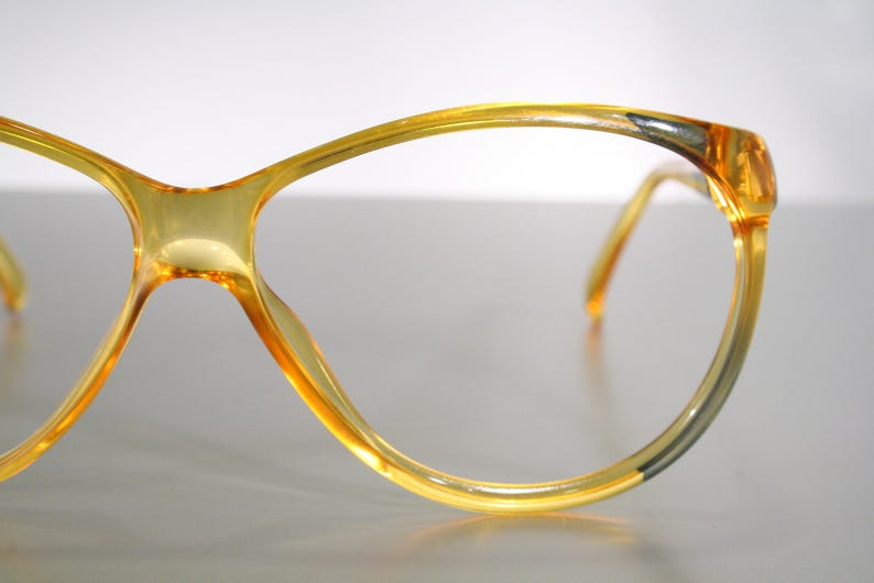 Vintage VIENNALINE 1282 Honey Amber Yellow with Gray Details Butterfly Unworn 1980's Eyeglass Frames Old Stock New NOS Made in Germany